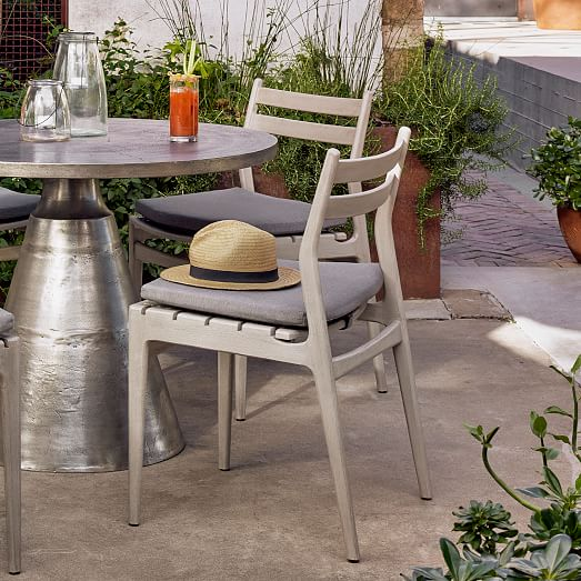 teak wood low back outdoor dining chair