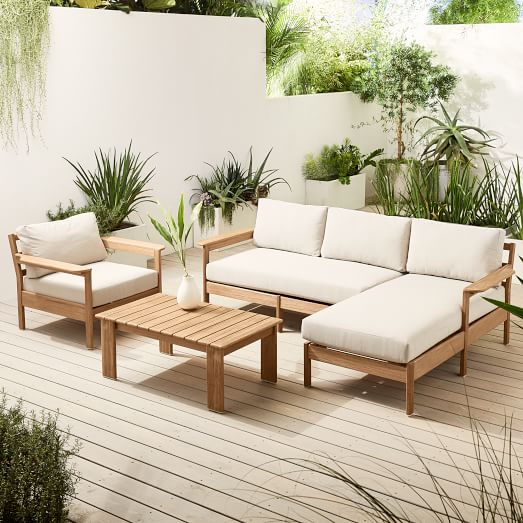 playa outdoor 92 reversible sectional lounge chair coffee table set