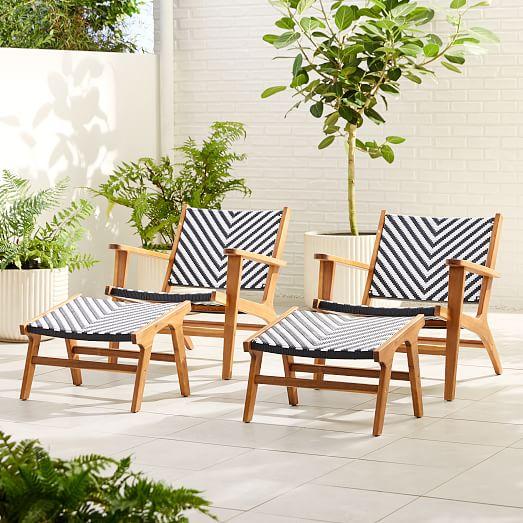 bondi outdoor lounge chair ottoman set