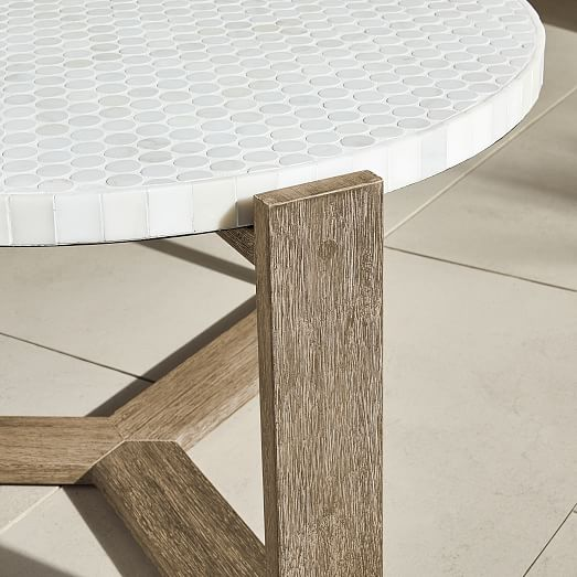 mosaic tiled outdoor coffee table white marble
