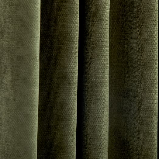 worn velvet curtain tarragon