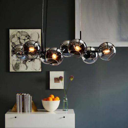 staggered glass 8 light chandelier metallic ombre