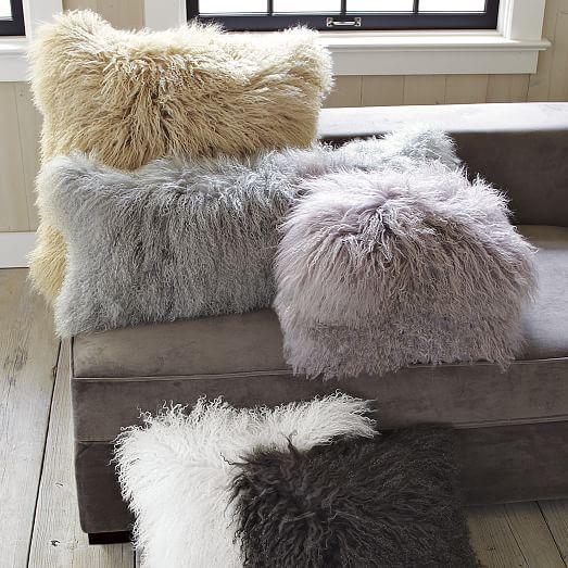 mongolian lamb pillow cover platinum