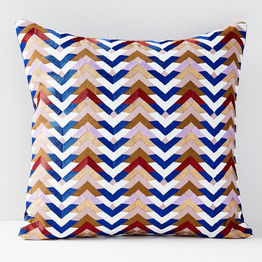 embroidered jewel chevron pillow covers