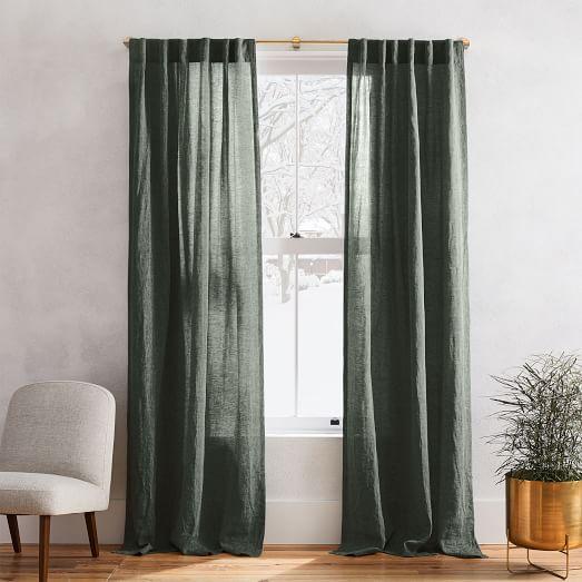 european flax linen melange curtain olive