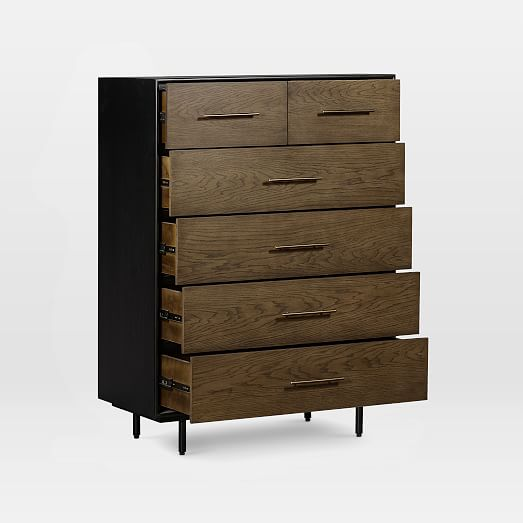 oak wood wrapped 6 drawer dresser tall