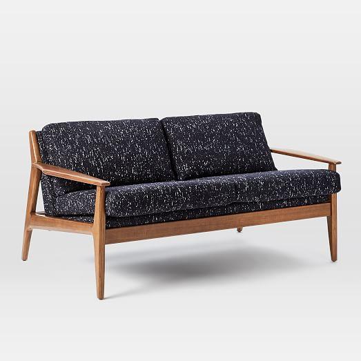 mathias mid century wood frame sofa