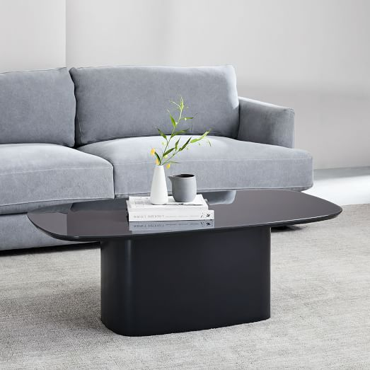superellipse glass top coffee table