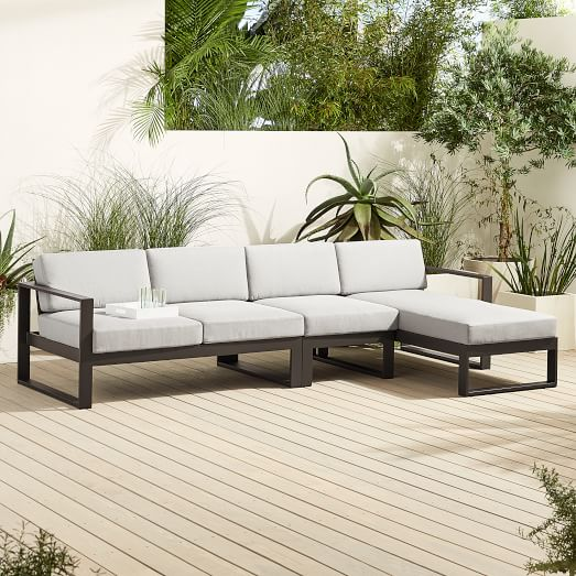portside aluminum outdoor 3 piece chaise sectional