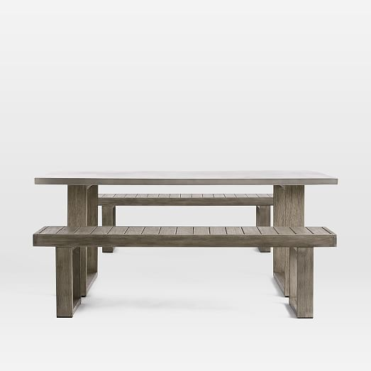 concrete outdoor dining table portside benches set