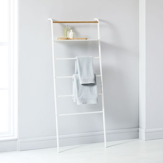 leaning ladders with shelves bathroom