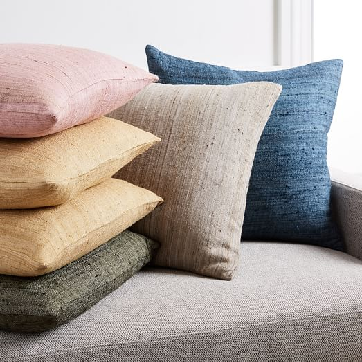 woven silk pillow cover olive