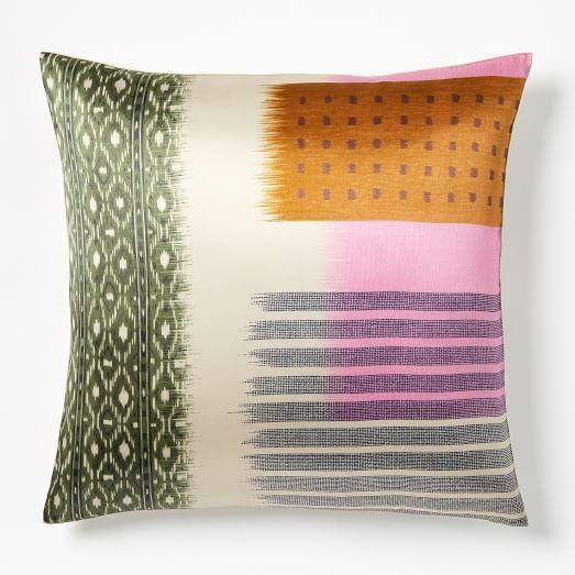 blocked ikat silk pillow covers