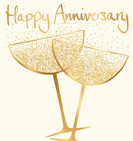Champagne Glasses Happy Anniversary Card Whsmith