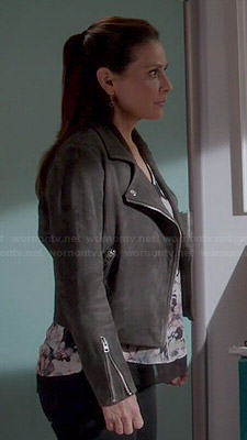 Regina's grey suede moto jacket on Switched at Birth