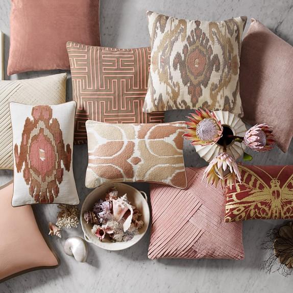 cashmere blush taupe throw pillow