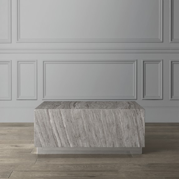travertine square coffee table stainless steel