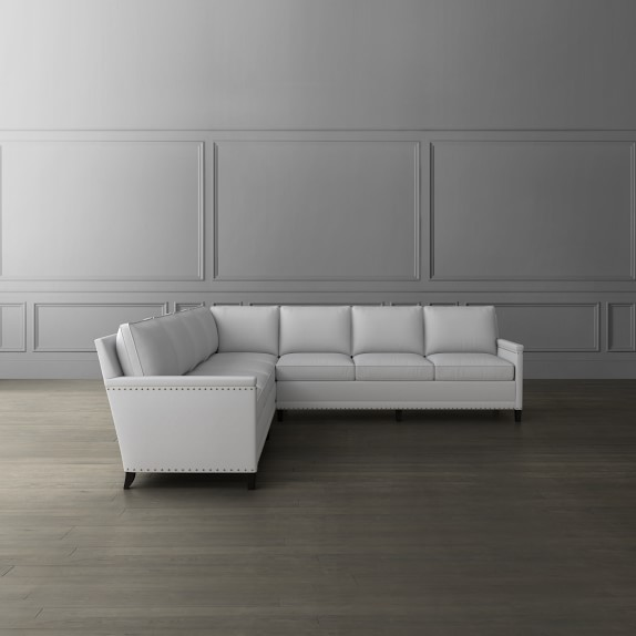 addison 2 piece l shape 4 cushion cornering sofa sectional with nailheads right
