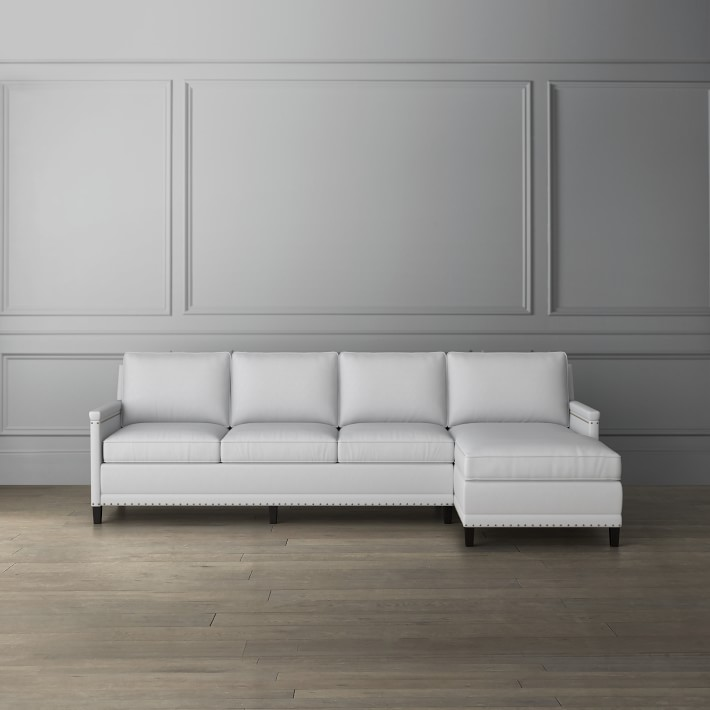 addison 2 piece l shape sofa chaise sectional with nailheads right
