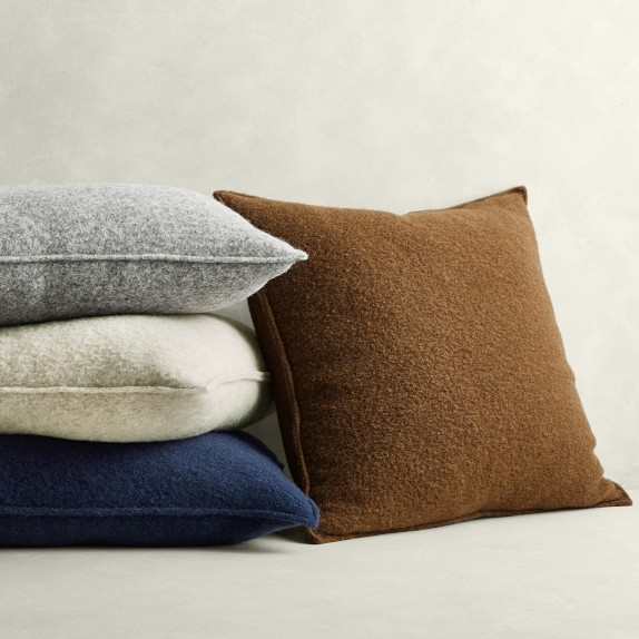 italian boiled wool solid pillow cover
