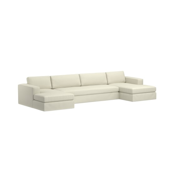 yountville slipcovered 3 piece u shape sofa sectional with chaise