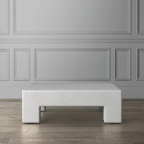 matte white square coffee table