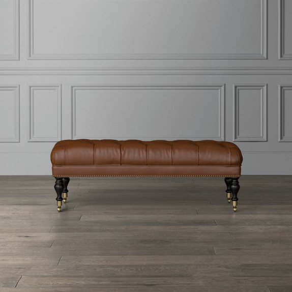 fairfax leather bench ottoman turned leg with tufted top