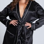 Plus Size Kali Satin Robe Black Lounge Robe Yandy Com