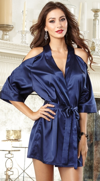 Midnight Blue Beauty Robe Navy Blue Satin Robe
