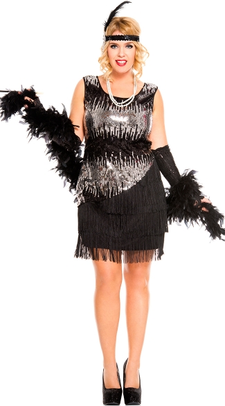 Plus Size Sequin Sparkly Fearless Flapper Costume Plus