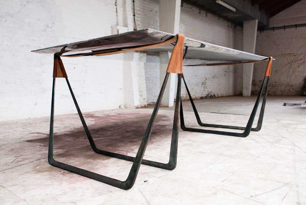 In Vain Marble Trestle Table By Ben Storms Yellowtrace