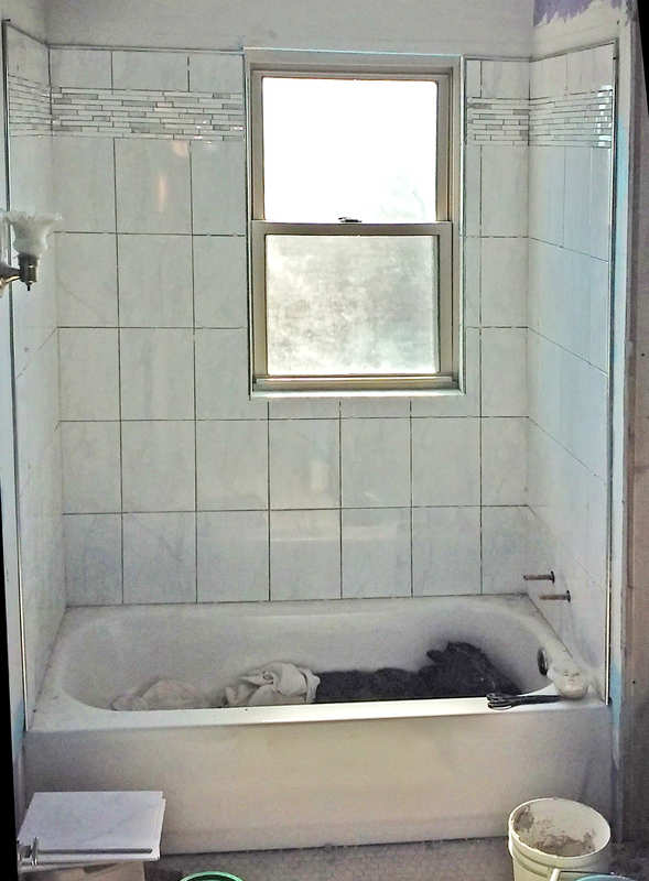 tub surround with window