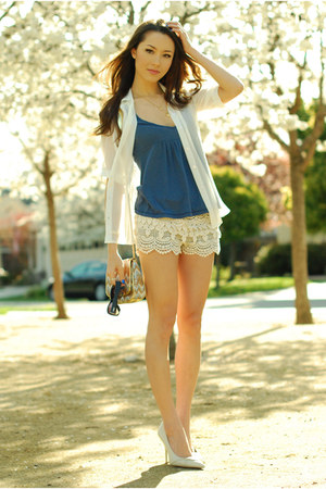 Cream Shopakira Shorts Periwinkle Abercrombie And Fitch