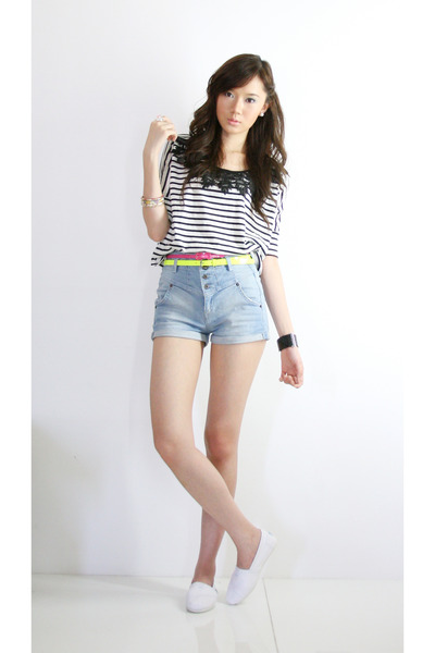 Topshop top - Topshop shorts - Mango belt - Dorothy Perkins belt - accessories