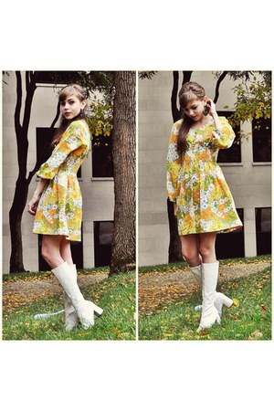Vintage Dresses White Go Go Boots Boots Olive Green