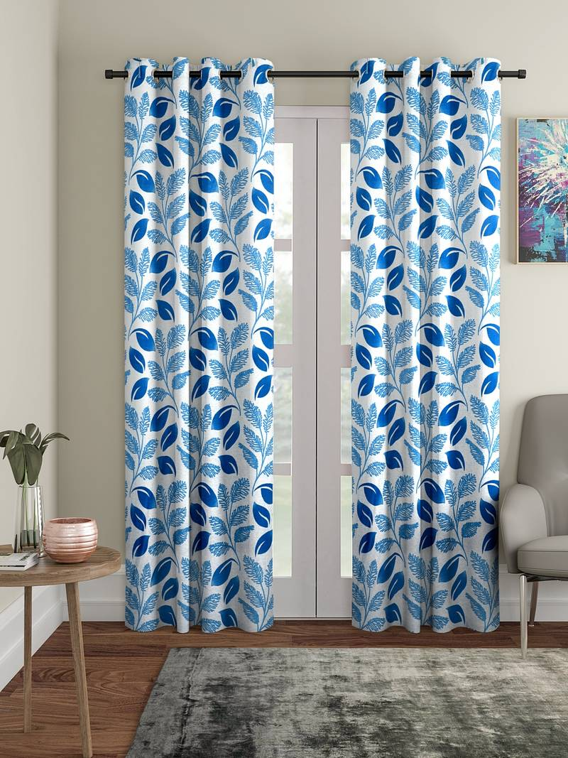 blue polyester plain printed door curtains for bedroom kitchen kids or living room