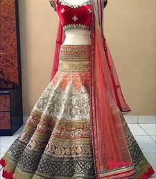 Buy OFF WHITE EMBROIDRED BROCADE WEDDING LEHENGA WITH BLOUSE bridal-lehenga online
