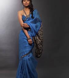Buy blue Kalamkari print Silk saree with blouse silk-saree online