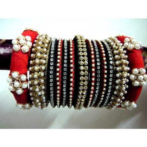 Red and black silk thread-zardosi designer party wear bangles-Jewellery-designerbangles