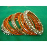 orange-silk-thread-metal-party-wear-bangles