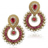 ramleela-bollywood-inspired-faux-pearl-dangle-earring-magenta