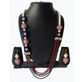 contrasting-pink-and-blue-with-green-and-red-combination-indo-western-mala-necklace-with-pearls-and-kundan