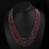 Natural Red Garnet 5 Strand Faceted AAA Beads Necklace