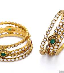 Buy ANTIQUE GOLDEN KAIRI SHAPED KUNDAN STONE STUDDED 6 PIECE BANGLE SET (KUNDAN RED GREEN)  - PCB1021 Other online