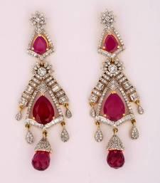 Buy Maroon Stones long American Diamonds Danglers danglers-drop online