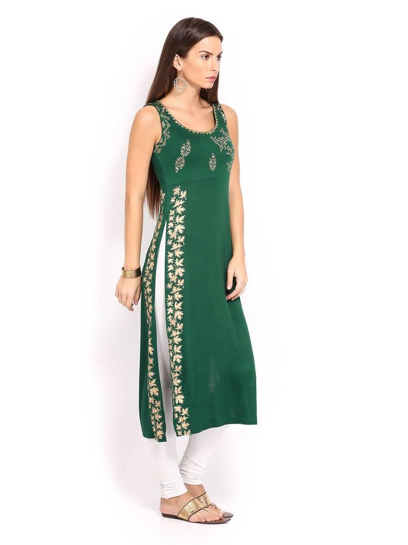 Buy Kukn114 IraSoleil Viscose Green Long Slit Kurti Online