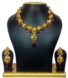 Buy Aw-Inspiring Designer High Gold Polish Jewelry Set in Purple necklace-set online