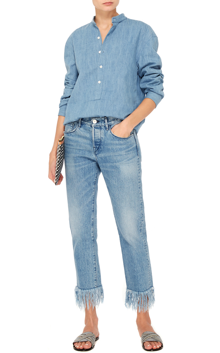 WM3 Straight Cropped Mid Rise Fringed Jeans By 3X1 Moda