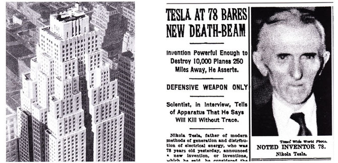 newspaper clipping about Tesla's death ray