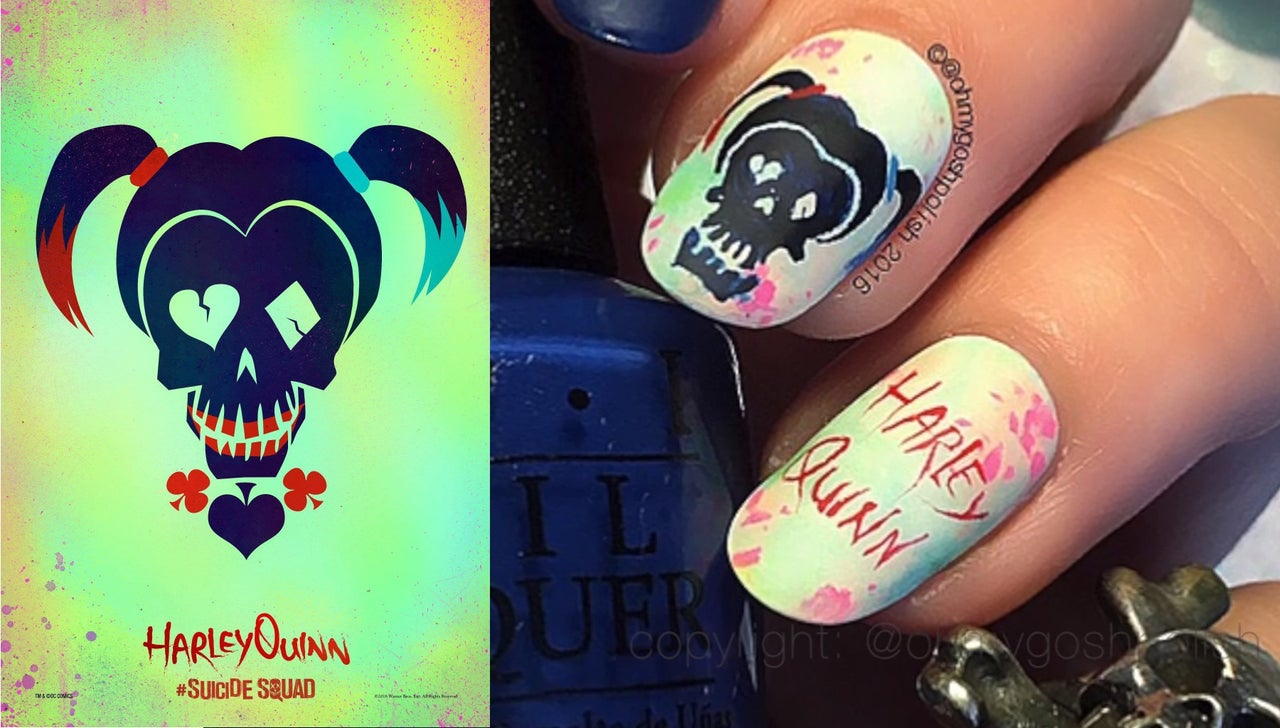 4 Awesome Harley Quinn Themed Nail Art Designs